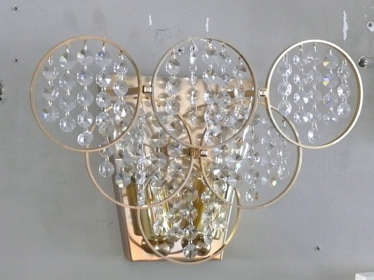 Pair of Brass and Crystal Sconces at 1stdibs