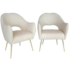 Italian Wool Boucle Sculptural Chairs