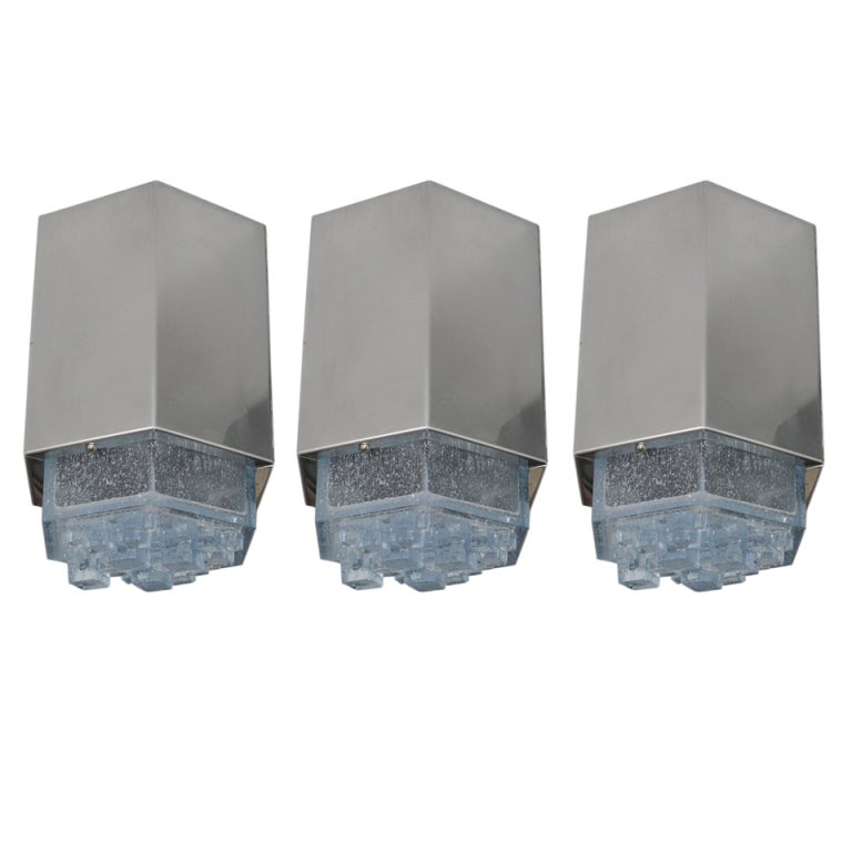 Italian Glass and Chrome Flush Mounts in the style of Poliarte