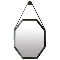 Beverly Oak and Leather Octagon Mirror by Orange Los Angeles