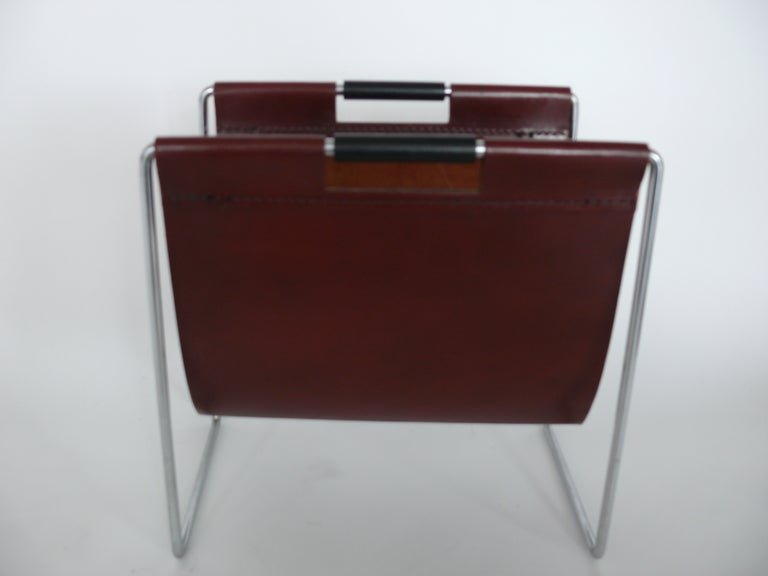 French Leather And Chrome Magazine Rack At 1stdibs