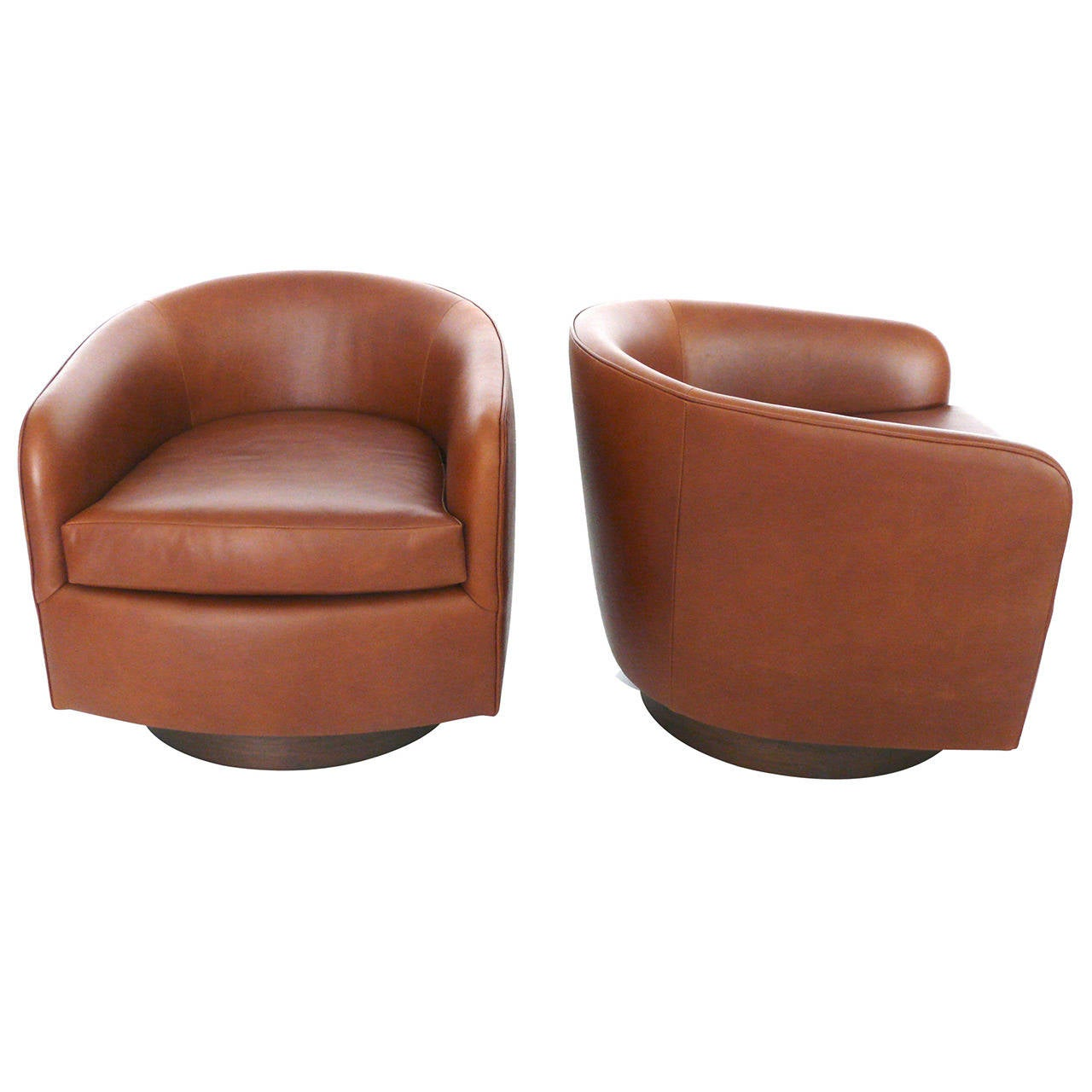 Superb Saddle Leather Swivel Chairs In The Style Of Milo Baughman Caraccident5 Cool Chair Designs And Ideas Caraccident5Info