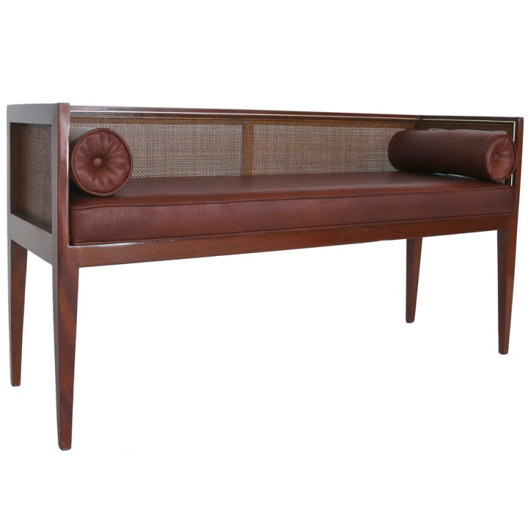 Caned Leather Bench For Sale