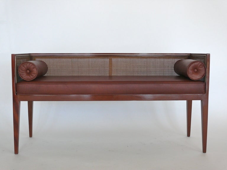 American Caned Leather Bench For Sale
