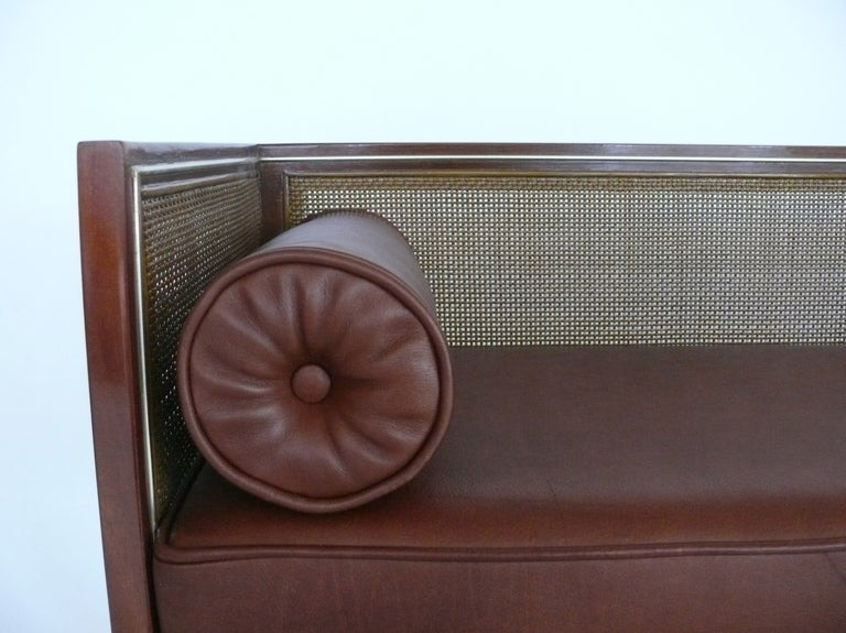 Caned Leather Bench In Excellent Condition For Sale In Los Angeles, CA