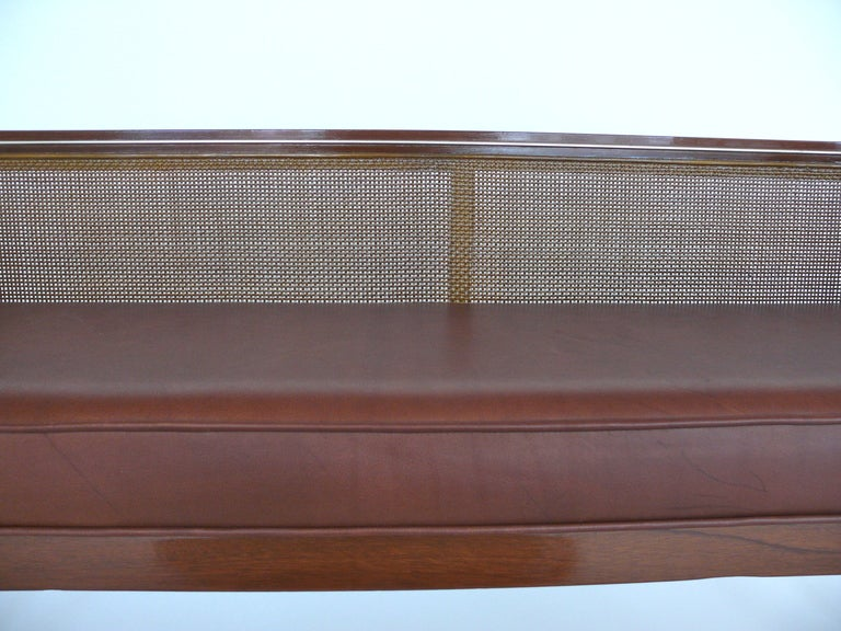 20th Century Caned Leather Bench For Sale