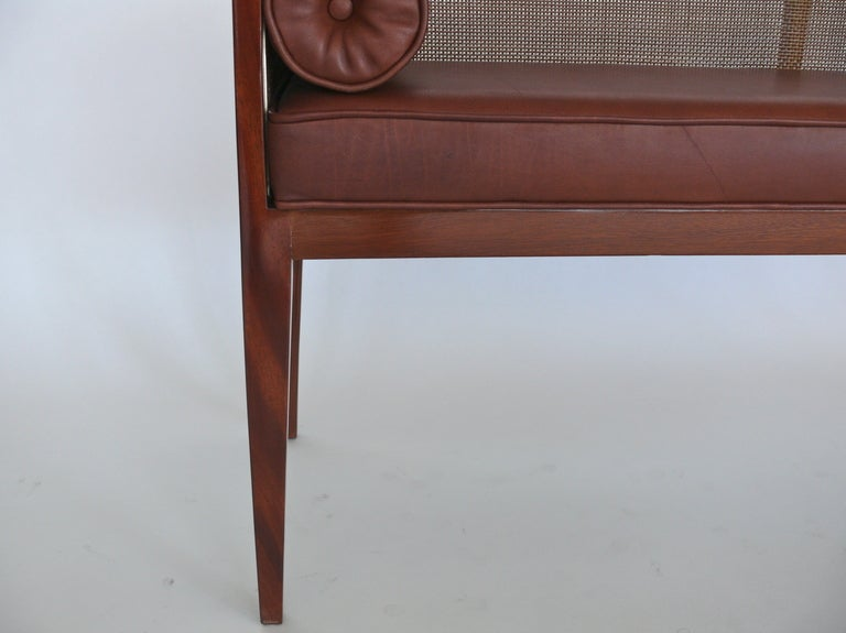 Wood Caned Leather Bench For Sale