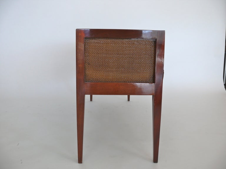 Caned Leather Bench For Sale 1