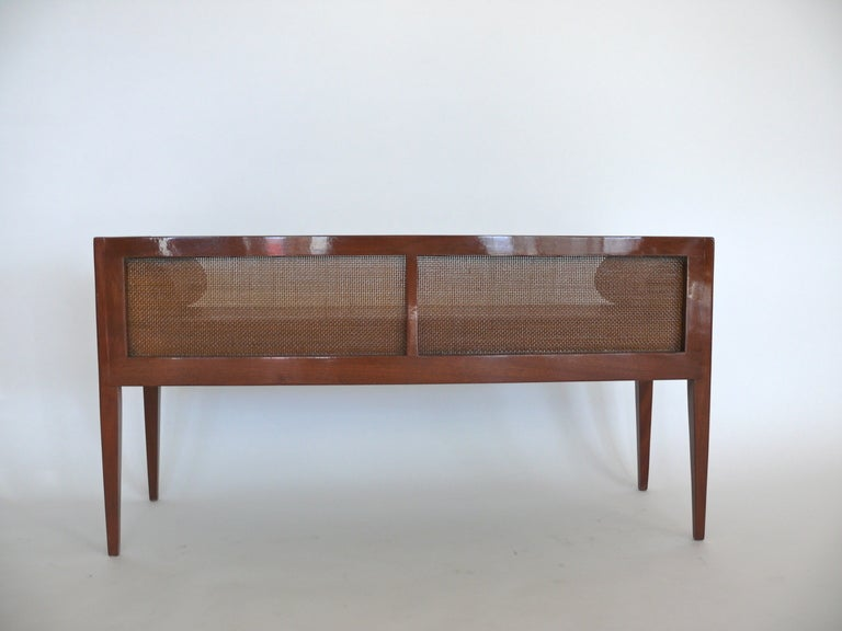 Caned Leather Bench For Sale 3