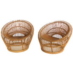 Rattan Bucket Chairs by Franco Albini for Vittorio Bonacina