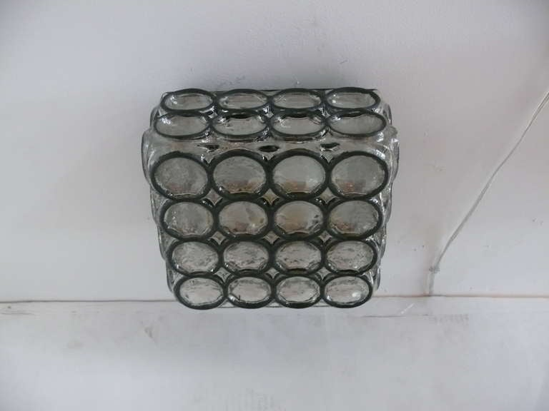 Limburg Iron and Glass Square Flush Mount In Excellent Condition For Sale In Los Angeles, CA