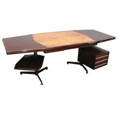 Large Rosewood Desk by Osvaldo Borsani for Techno Milano