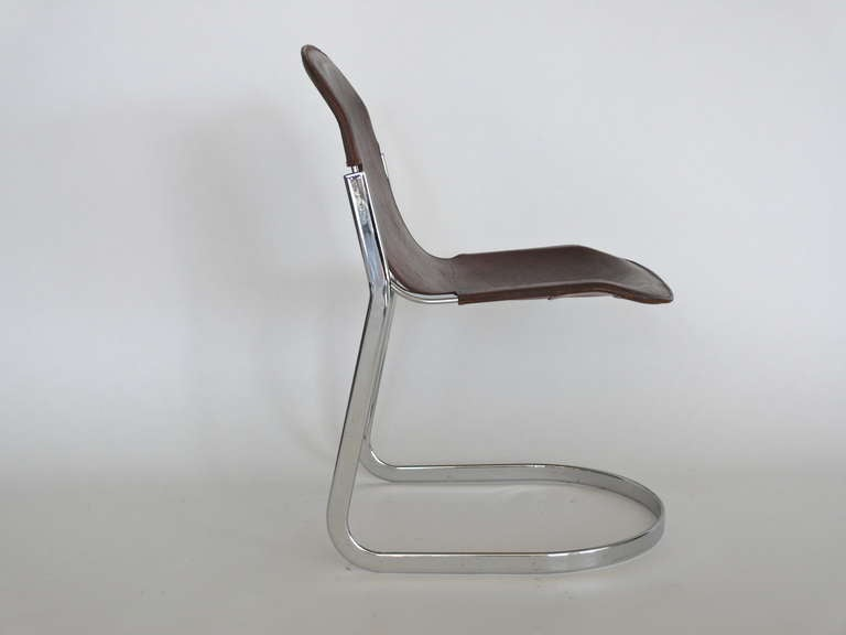 Italian Leather Sling Dining Chairs At 1stdibs