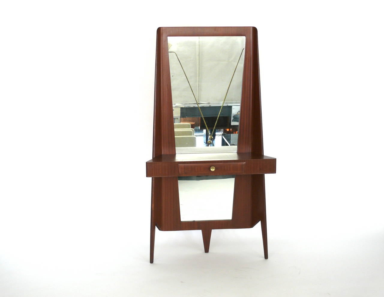 Italian floor mirror with drawer and shelf at 1stdibs for Mirror with shelf