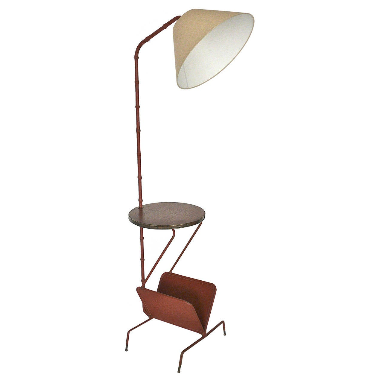 Jacques Adnet Floor Lamp With Table And Magazine Rack At