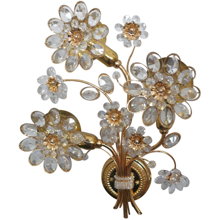 Italian Crystal Wall Lights : Italian Floral Crystal Sconce at 1stdibs
