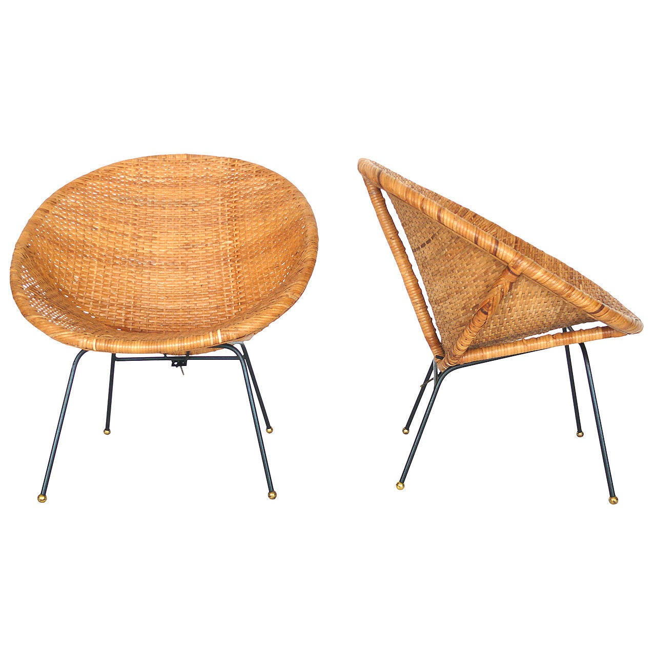 Woven Wicker And Iron Bucket Chairs At 1stdibs