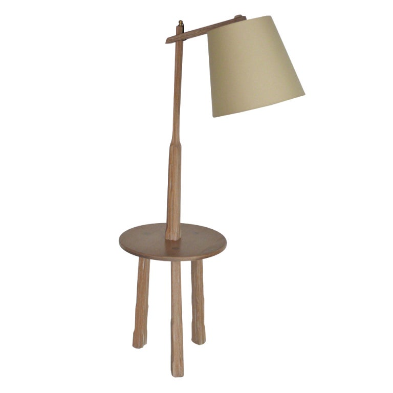 Oak floor lamp with table by brandt ranch at 1stdibs for Oak floor lamp stand