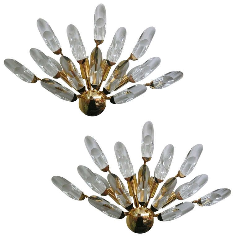 Pair of Italian Glass and Brass Sconces