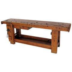 French Industrial Oak Workbench