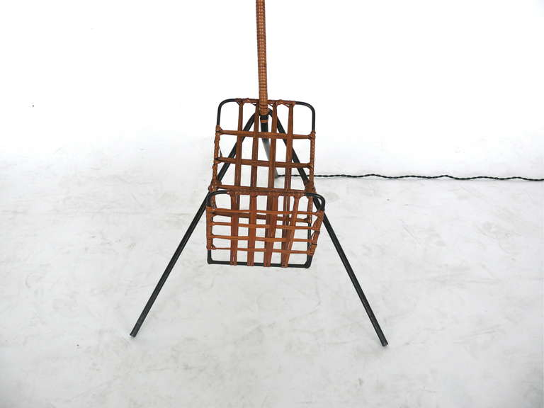 French Rattan and Iron Floor Lamp with Magazine Rack 6