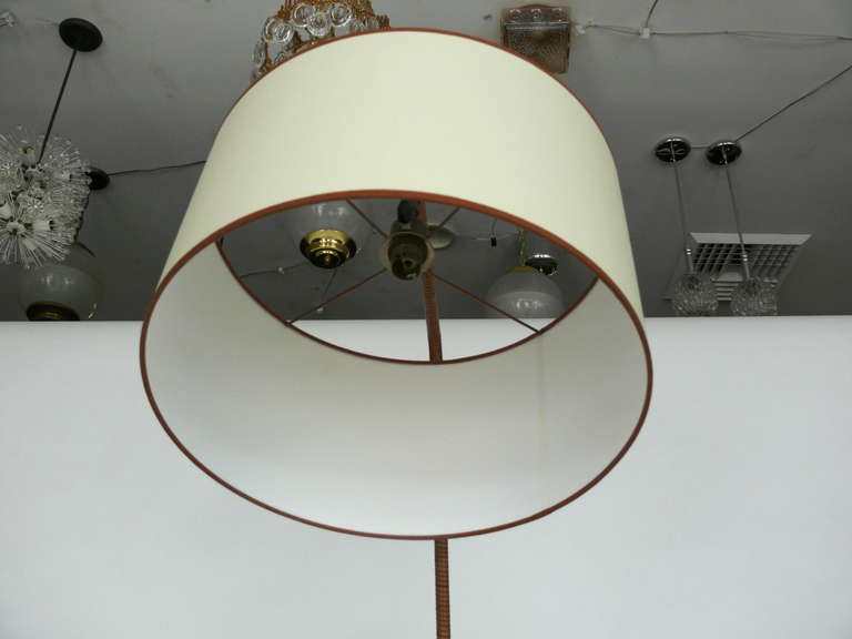 French Rattan and Iron Floor Lamp with Magazine Rack 4