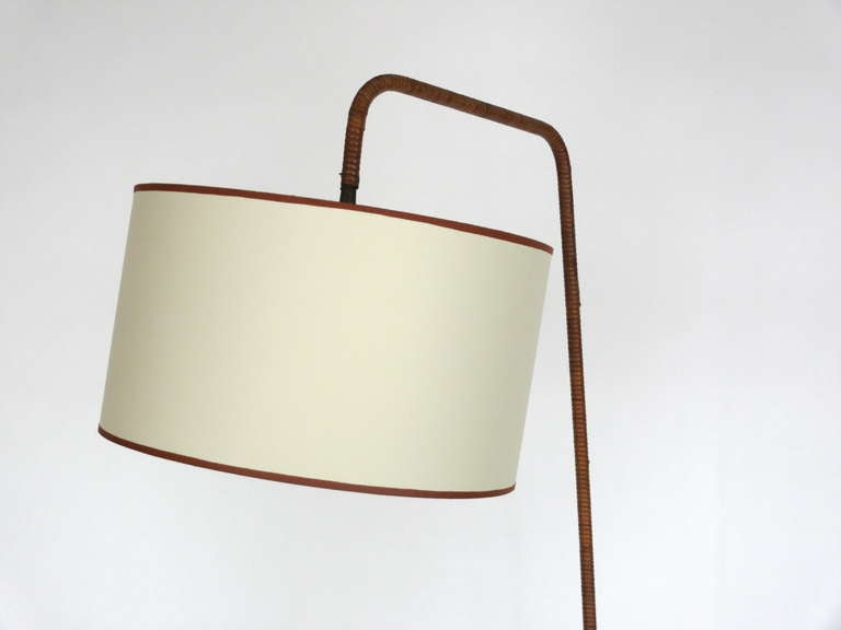 French Rattan and Iron Floor Lamp with Magazine Rack 5