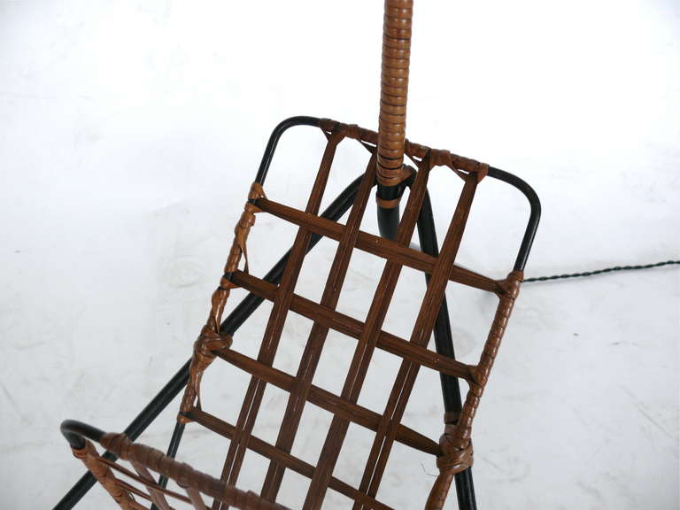 French Rattan and Iron Floor Lamp with Magazine Rack 7