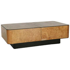 Burled Maple Wood Coffee Table in the style of Milo Baughman