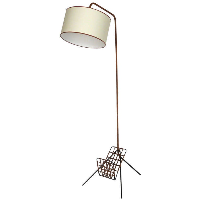 French Rattan And Iron Floor Lamp With Magazine Rack At