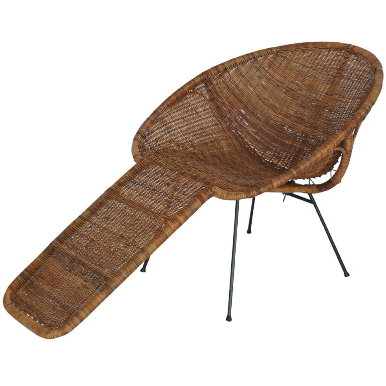 Wicker Lounge Chair At 1stdibs