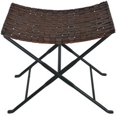 Woven Leather and Iron Stool