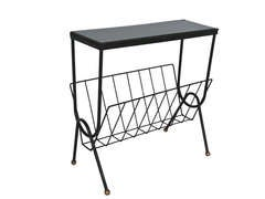 French Iron Side Table and Magazine Rack