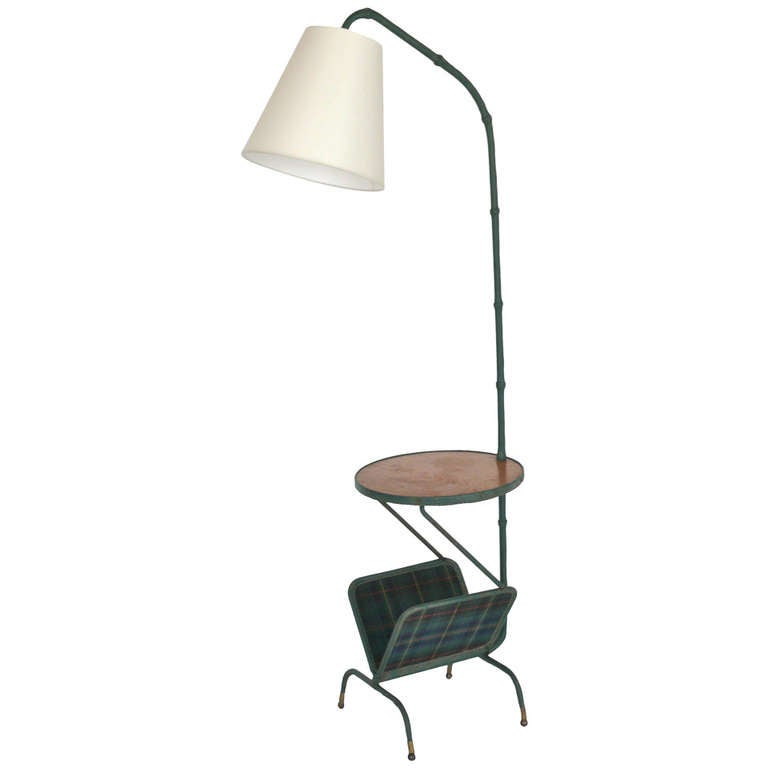 leather floor lamp with magazine rack and table by jacques adnet at. Black Bedroom Furniture Sets. Home Design Ideas