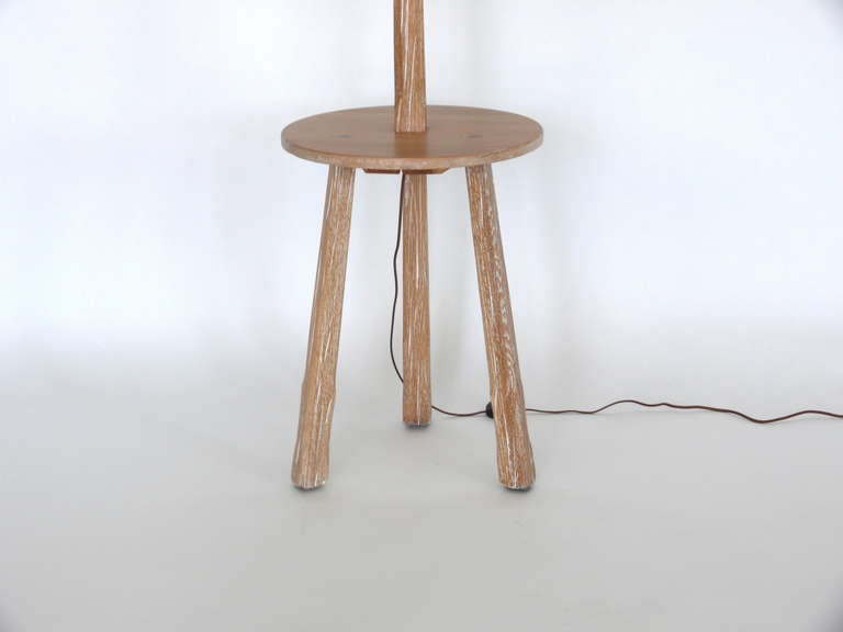 Oak Floor Lamp With Table By Brandt Ranch At 1stdibs