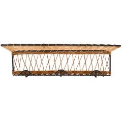 French Iron and Wicker Wall Rack