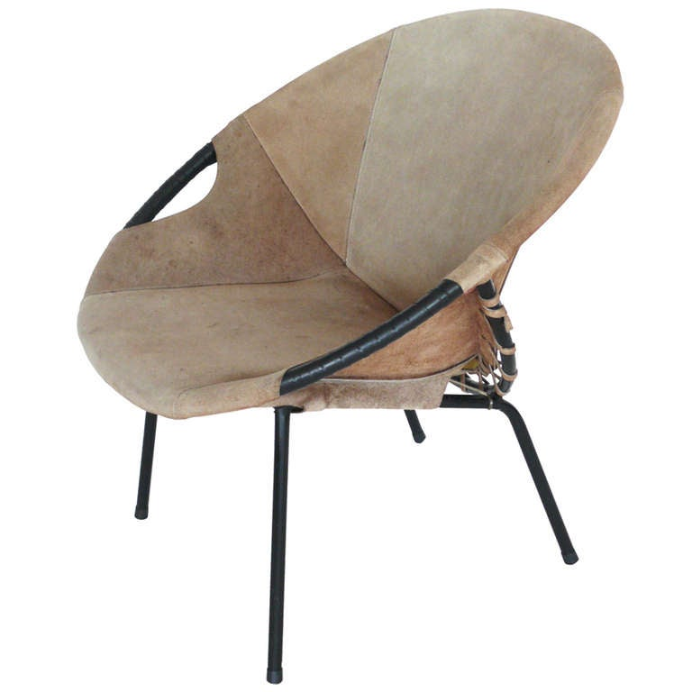 Austrian Suede and Iron Lounge Chair at 1stdibs