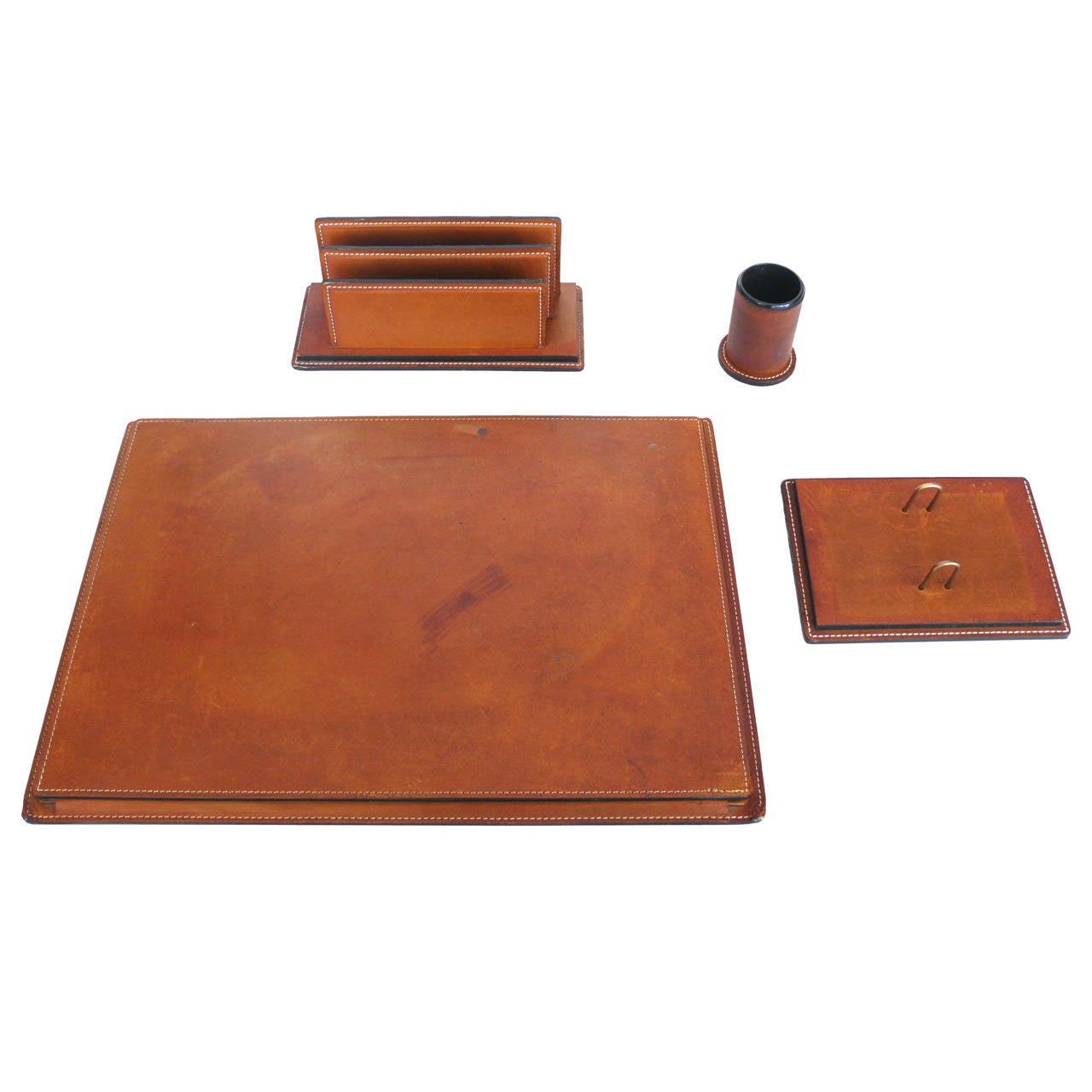 french leather desk set at 1stdibs. Black Bedroom Furniture Sets. Home Design Ideas