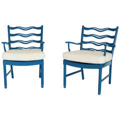 Ole Wanscher Ladder Back Armchairs for Fritz Hansen in Blue Lacquer