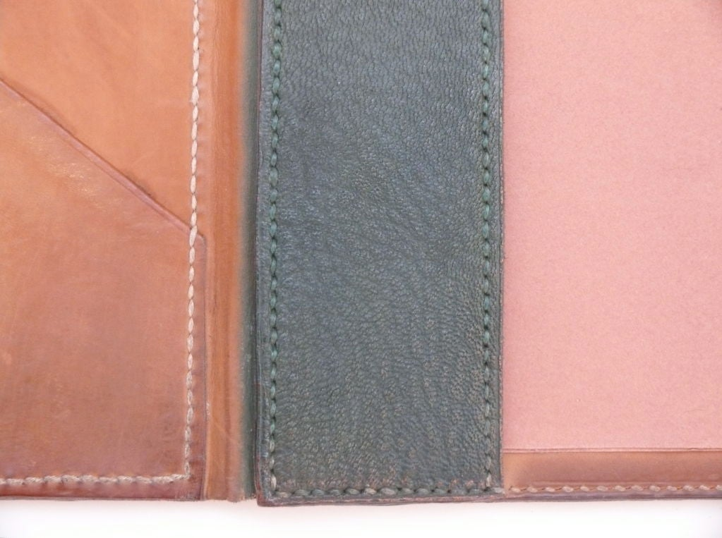 French Green Leather Desk Blotter For 4