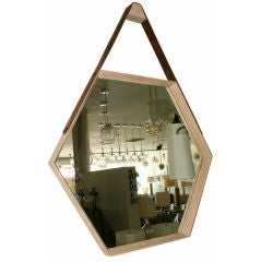 Beverly Oak and Leather Hexagon Mirror by Orange Los Angeles