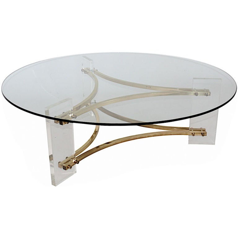 Lucite and brass coffee table at 1stdibs for Lucite and brass coffee table