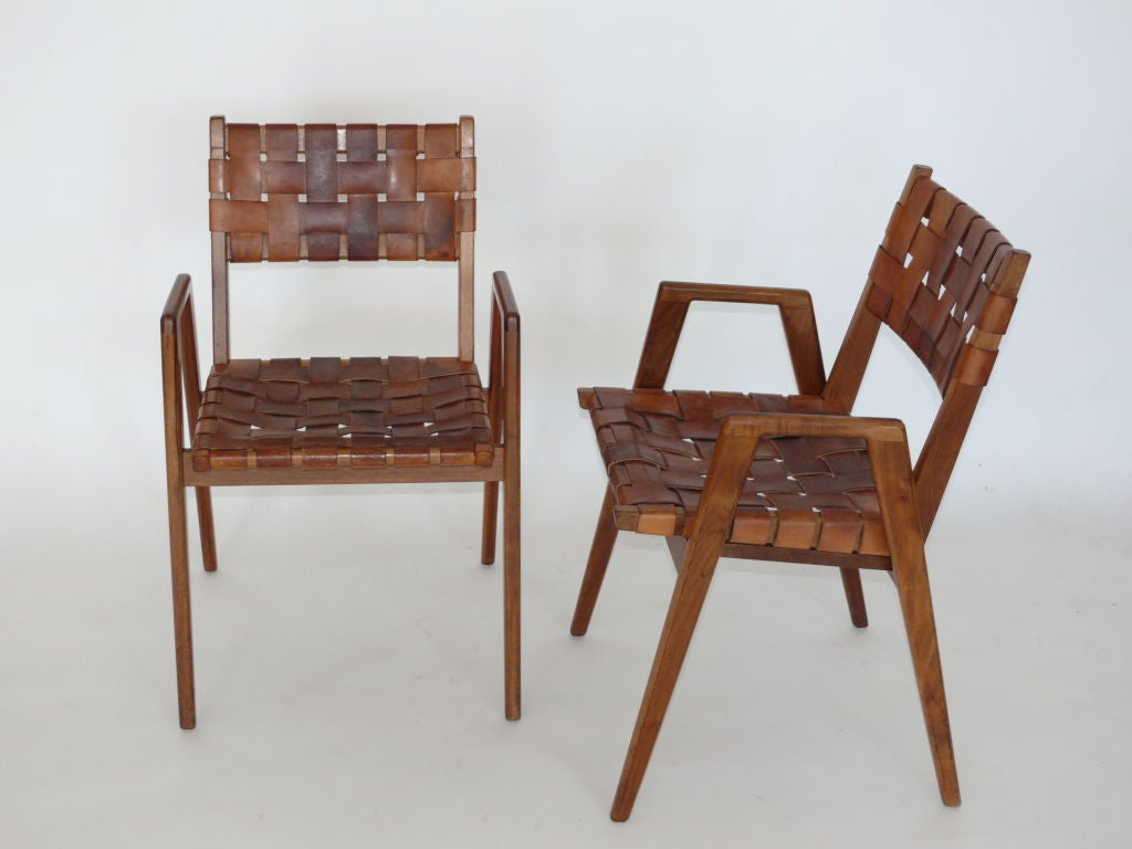 American Woven Leather And Wood Chairs For Sale