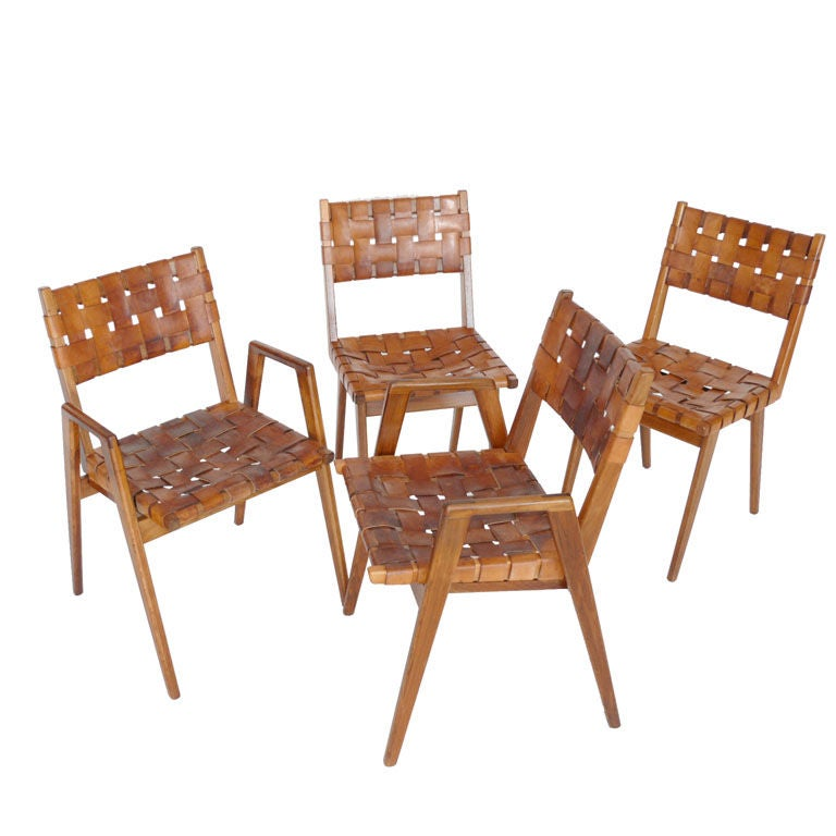 Woven Leather and Wood Chairs at 1stdibs