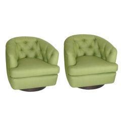 Milo Baughman Style Swivel Chairs