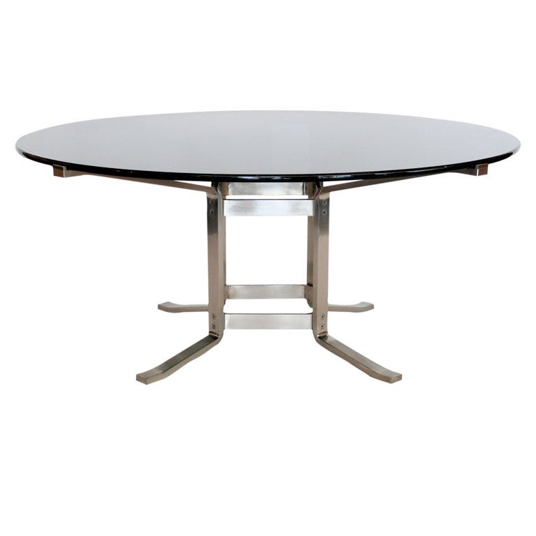 Stainless Steel And Glass Italian Dining Table At 1stdibs