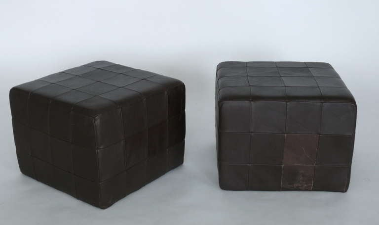 Terrific Pair Of Brown Leather Cube Ottomans By Stendig At 1Stdibs Andrewgaddart Wooden Chair Designs For Living Room Andrewgaddartcom