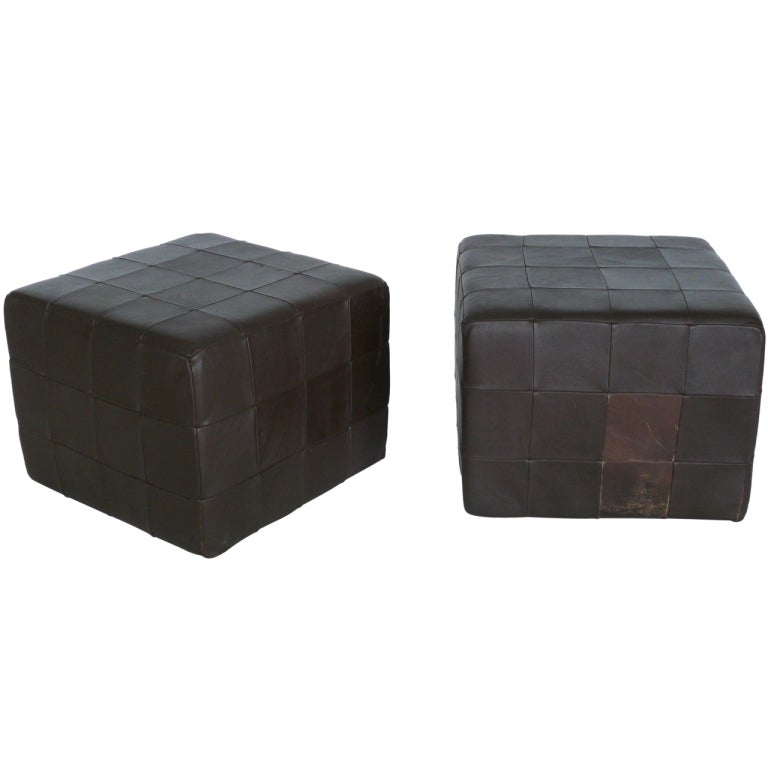 Fabulous Pair Of Brown Leather Cube Ottomans By Stendig At 1Stdibs Andrewgaddart Wooden Chair Designs For Living Room Andrewgaddartcom