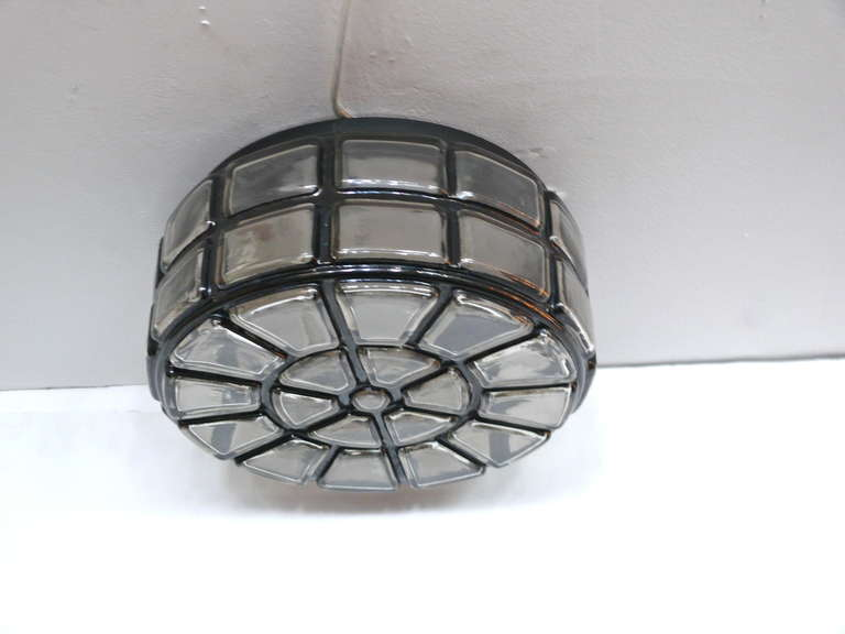 20th Century Geometric Glass Flush Mount For Sale