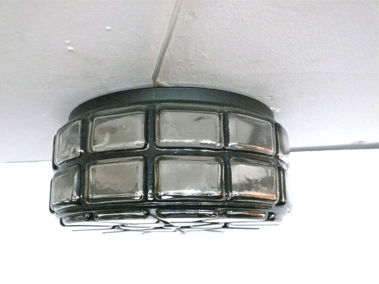 Great Austrian geometric flush mount with hand blown glass and black detailing along edges. Newly rewired.